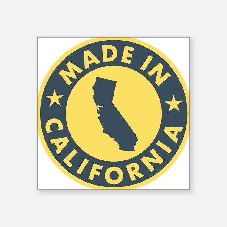 "Made-In-Califotnia Square Sticker 3"" x 3"""