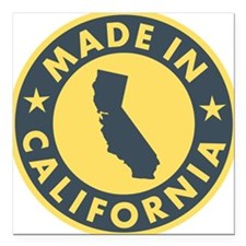 "Made-In-Califotnia Square Car Magnet 3"" x 3"""