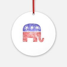 2-RepublicanLogoTexturedGreyBackgro Round Ornament