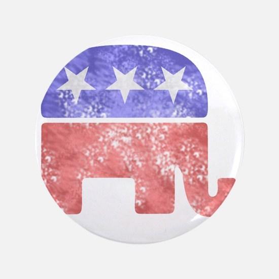 """2-RepublicanLogoTexturedGreyBackground 3.5"""" Button"""