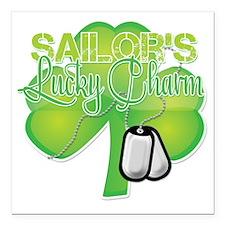 "LuckyCharm_Sailor Square Car Magnet 3"" x 3"""