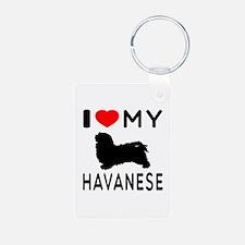 I Love My Havanese Aluminum Photo Keychain