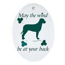 Tosa Inu and Shamrocks Oval Ornament