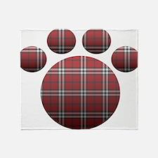 Plaid Paw Throw Blanket
