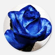Blue Rose Round Car Magnet