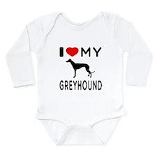 I Love My Greyhound Long Sleeve Infant Bodysuit
