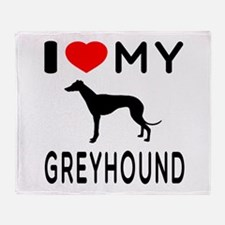 I Love My Greyhound Throw Blanket