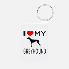 I Love My Greyhound Keychains