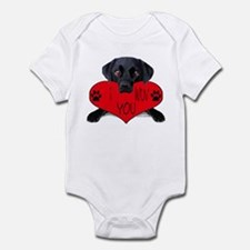 Black Lab Valentine Infant Bodysuit