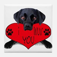 Black Lab Valentine Tile Coaster