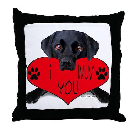 Black Lab Valentine Throw Pillow