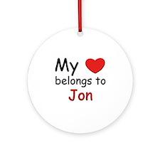 My heart belongs to jon Ornament (Round)