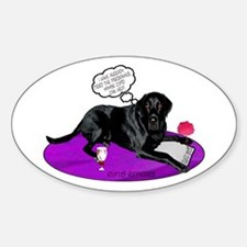 Black Lab Cupid Oval Decal