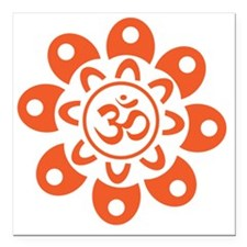 "om_flower_sticker Square Car Magnet 3"" x 3"""