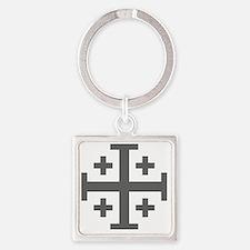 Cross Potent - Jerusalem - Grey Square Keychain