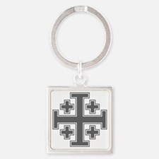 Cross Potent - Jerusalem - Grey-2 Square Keychain