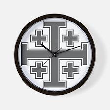 Cross Potent - Jerusalem - Grey-2 Wall Clock