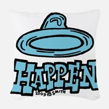 condom_happen_right_blue Woven Throw Pillow