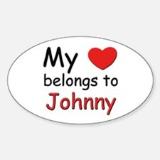 My heart belongs to johnny Oval Decal