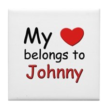 My heart belongs to johnny Tile Coaster