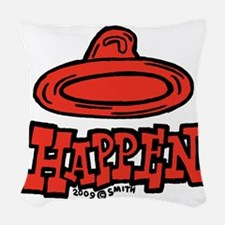 condom_happen_right_red Woven Throw Pillow