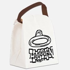 condom_happen_right_BW_green_yell Canvas Lunch Bag