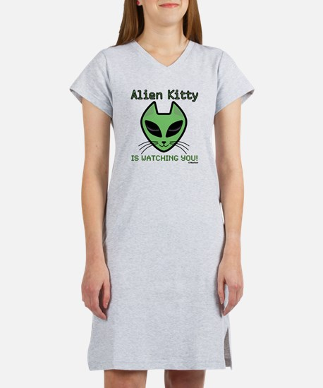 2-AlienKitty-IsWatching Women's Nightshirt