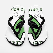 2-AlienKitty-IsWatching Flip Flops