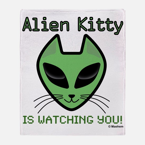 2-AlienKitty-IsWatching Throw Blanket