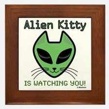 2-AlienKitty-IsWatching Framed Tile