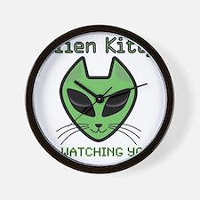 2-AlienKitty-IsWatching Wall Clock