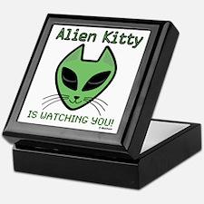 2-AlienKitty-IsWatching Keepsake Box
