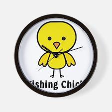 fishing chick Wall Clock