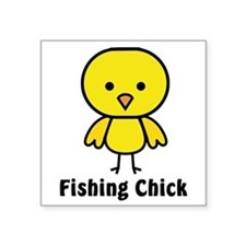 "fishing chick Square Sticker 3"" x 3"""