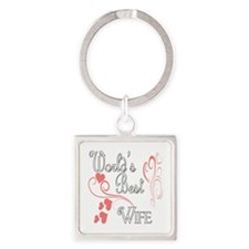 Hearts Wife copy Square Keychain