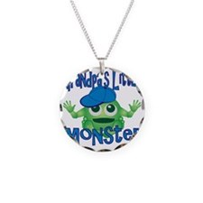 Boy Grandpas Little Monster Necklace Circle Charm