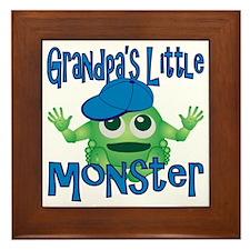 Boy Grandpas Little Monster Framed Tile