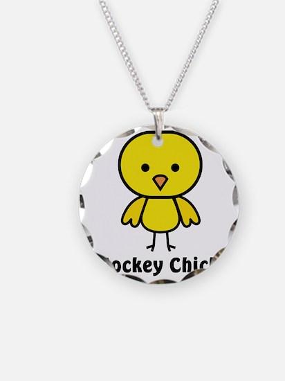 hockey chick Necklace Circle Charm