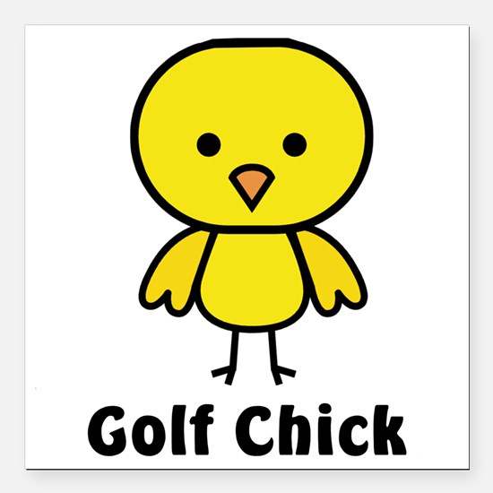 "golf chick Square Car Magnet 3"" x 3"""