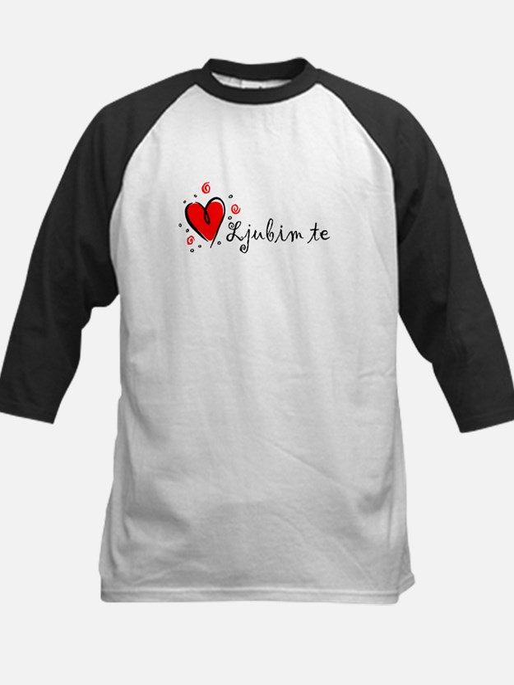 """I Love You"" [Serbian] Kids Baseball Jersey"