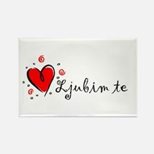 """I Love You"" [Serbian] Rectangle Magnet"