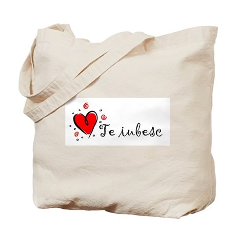 """I Love You"" [Romanian] Tote Bag"