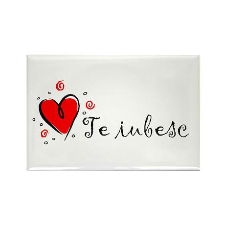 """I Love You"" [Romanian] Rectangle Magnet"