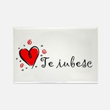 """I Love You"" [Romanian] Rectangle Magnet"