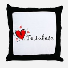 """I Love You"" [Romanian] Throw Pillow"