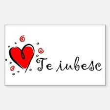 """I Love You"" [Romanian] Rectangle Decal"