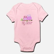 Big Sister Pink Owls Body Suit