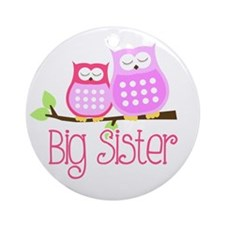 Big Sister Pink Owls Ornament (Round)