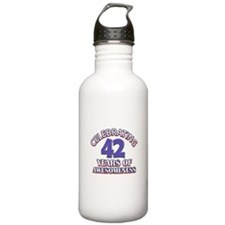 Awesome at 42 birthday designs Water Bottle