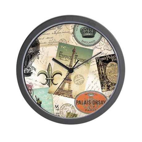 Vintage Travel collage Wall Clock by listing-store-6038465